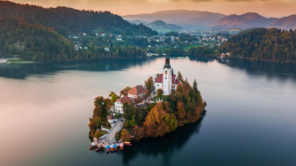 Aerial view of Lake Bled