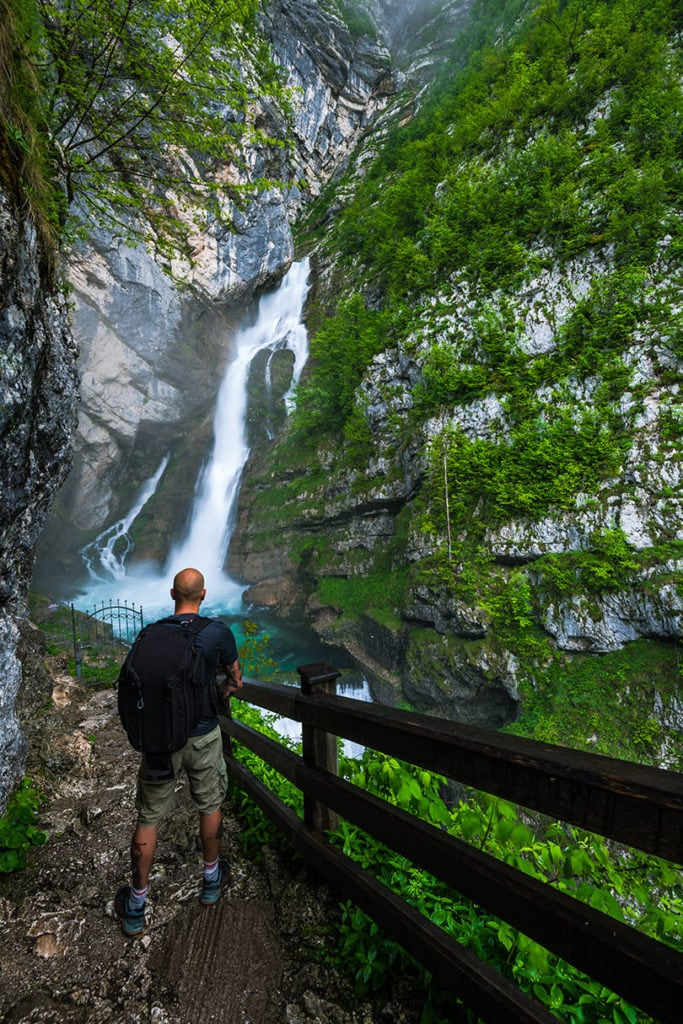 Man in front of Savica waterfall