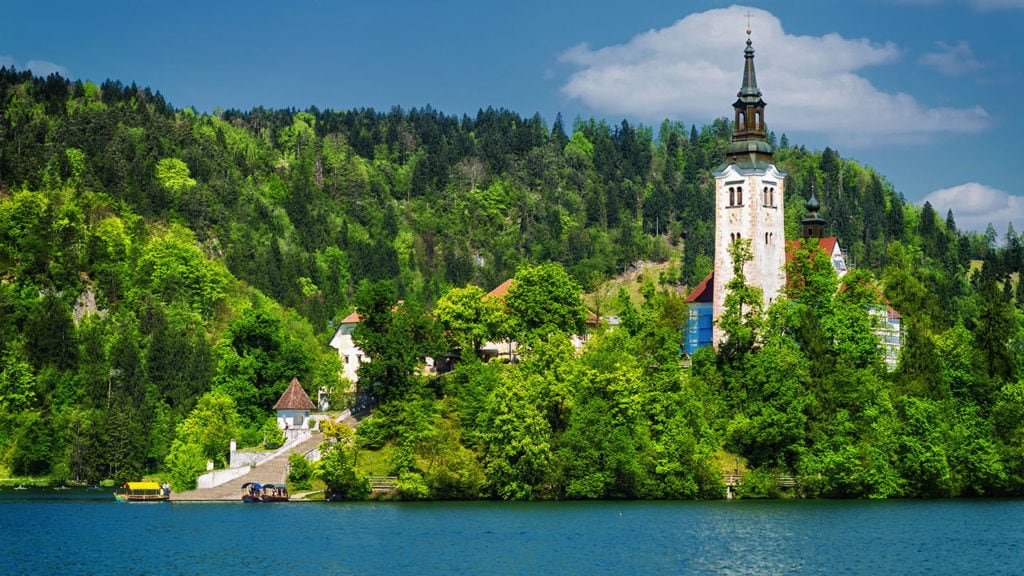 A church and a castle in the middle of the Lake