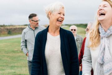 Elderly people walking and enjoying