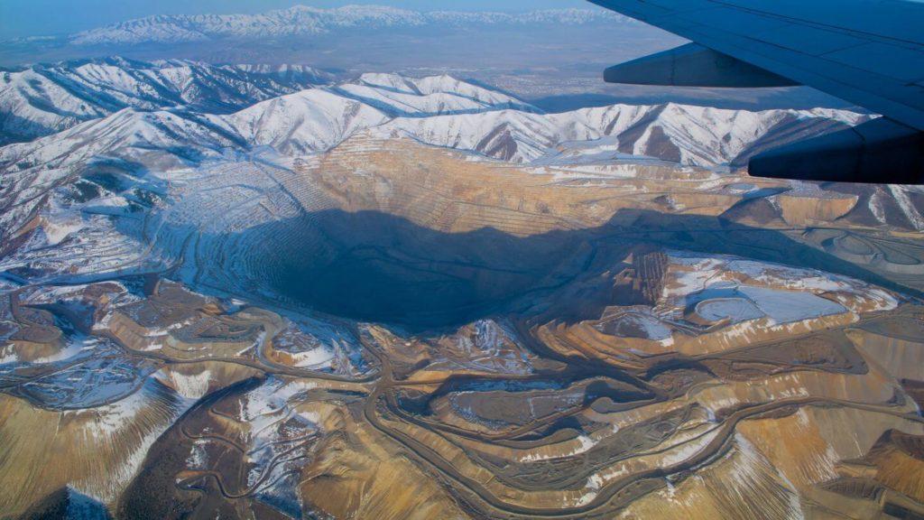 aerial view kennecott copper mine usa