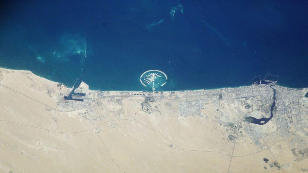 palm island dubai from space