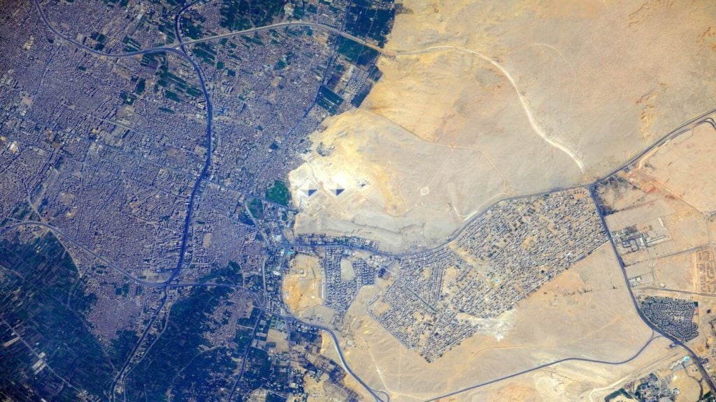 great pyramids of giza seen from space