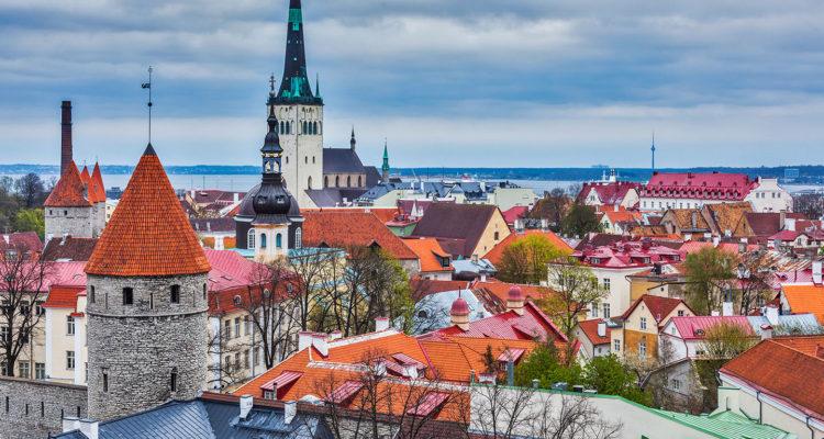 Aerial view of Old Town Tallinn