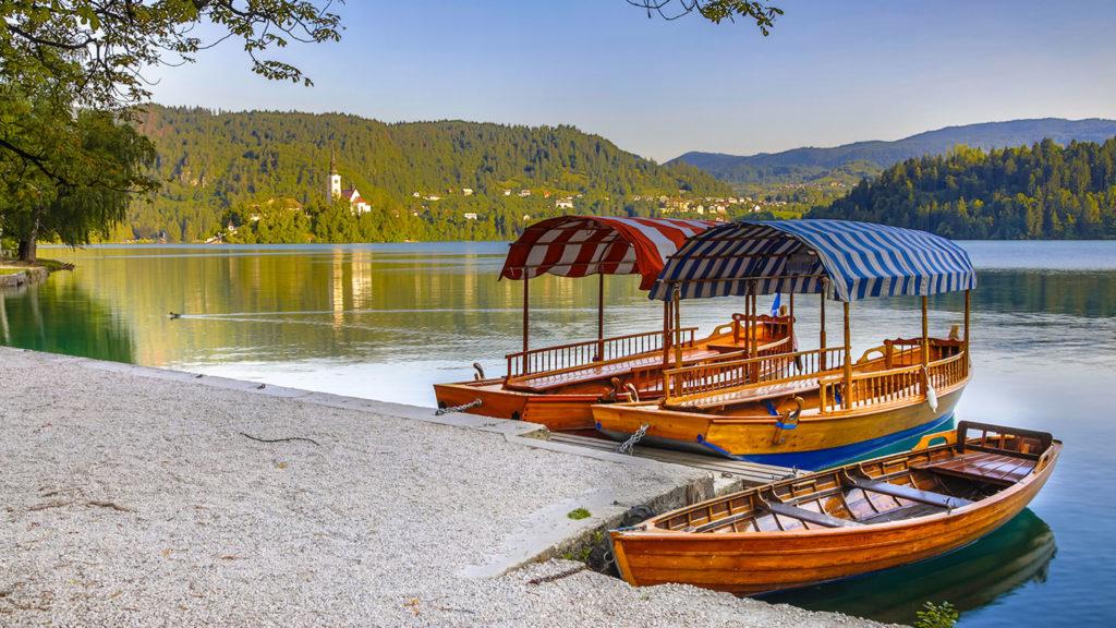 Pletna boats by lake Bled