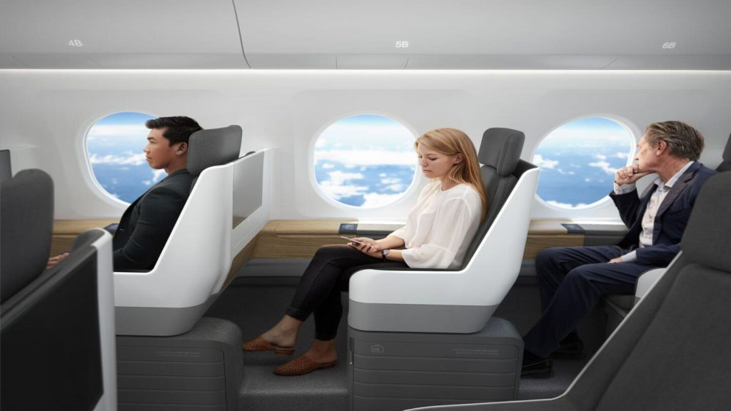 Boom Supersonic plane model passengers flying