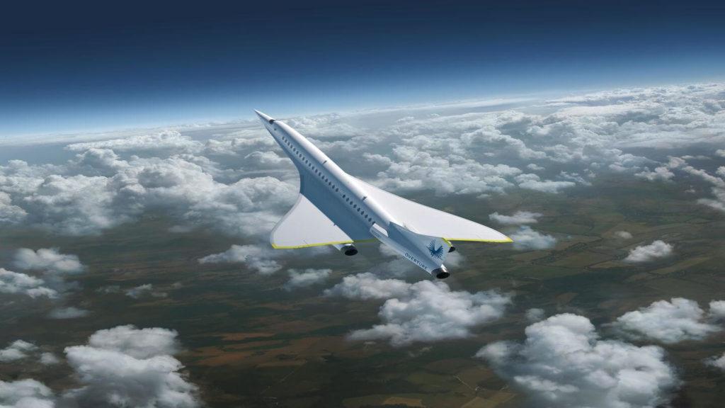 Boom Supersonic plane model flying