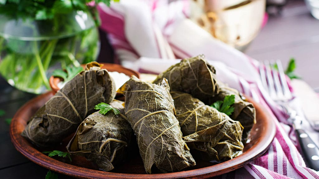 Vine leaves Dolmades - Armenian food and dishes