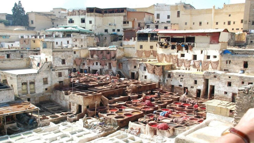 colourful dye pits tanneries Fez Morocco