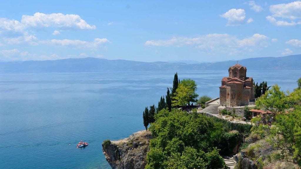 Aerial shot of lake Ohrid