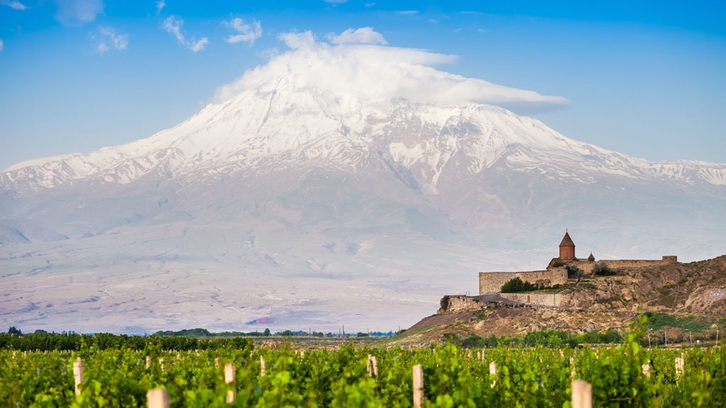 Khor Virap and Mount Ararat in t he background