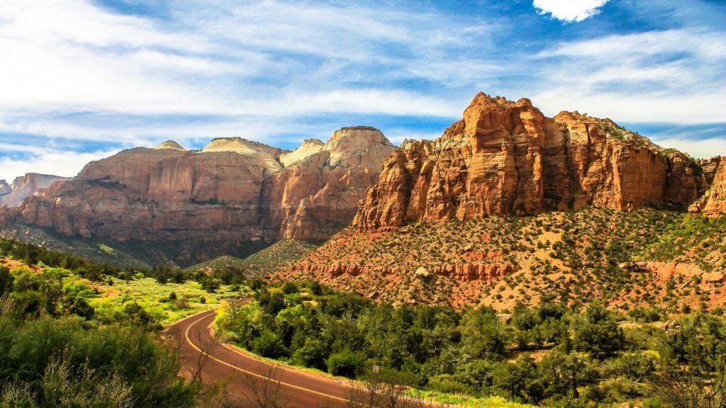 road mountains zion national park usa