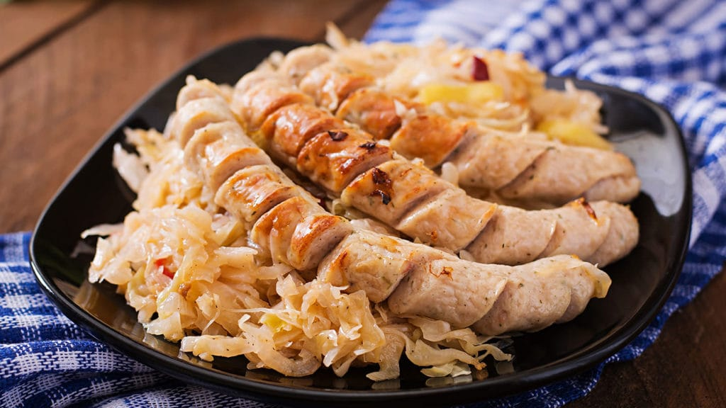 German Sausage with Cabbage