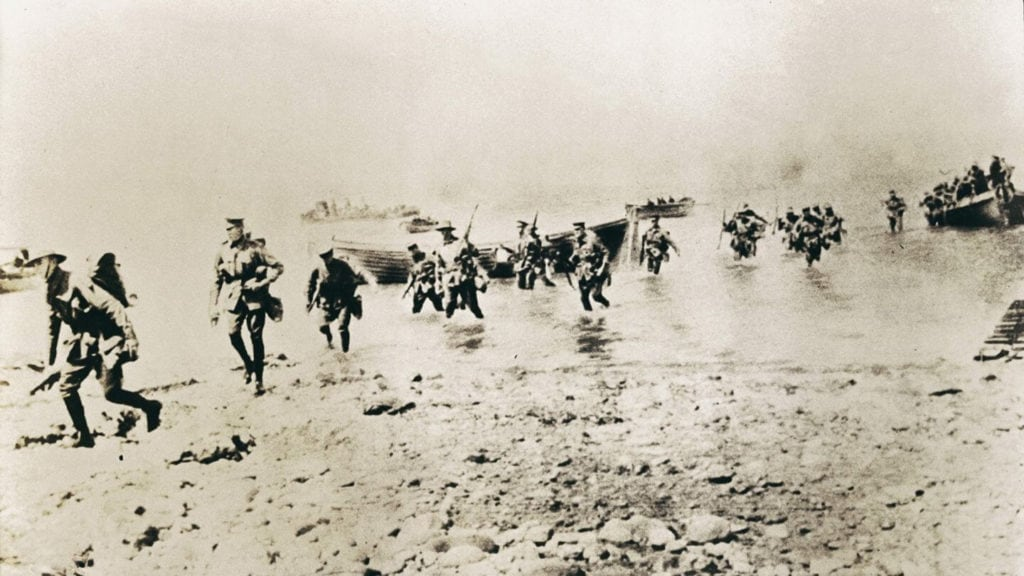 New Zealander troops arriving at Gallipoli
