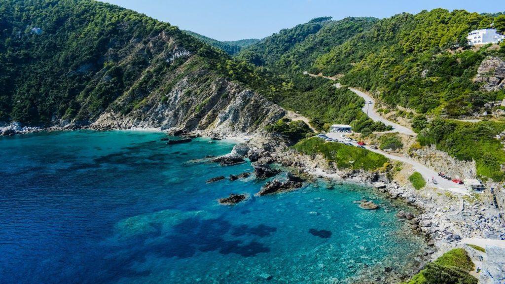 blue water mountains skopelos island greece