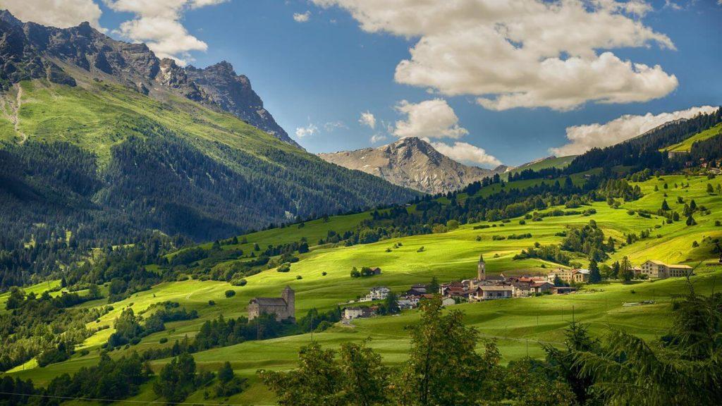 green hills mountain village Switzerland