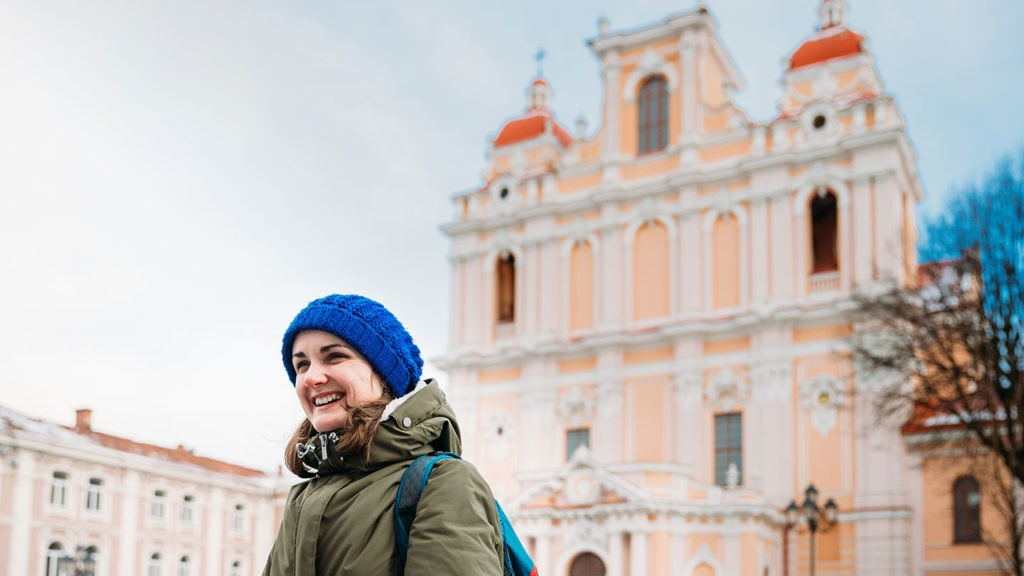 Girl in front of St kasimir church