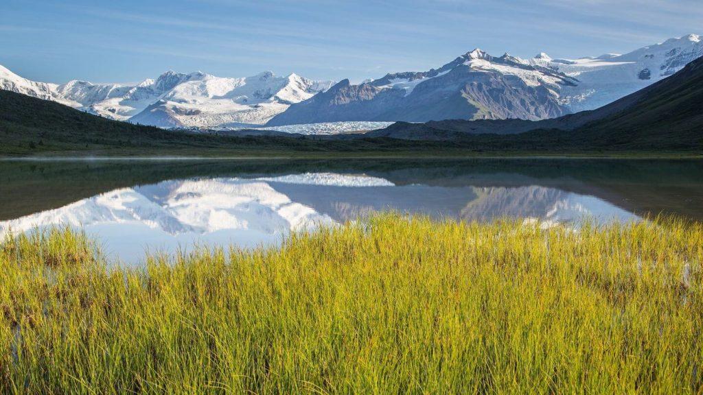 mountains lake wrangell st elias national park alaska