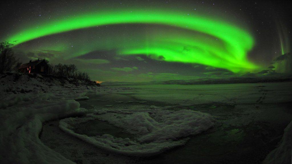 green northern lights abisko national park sweden