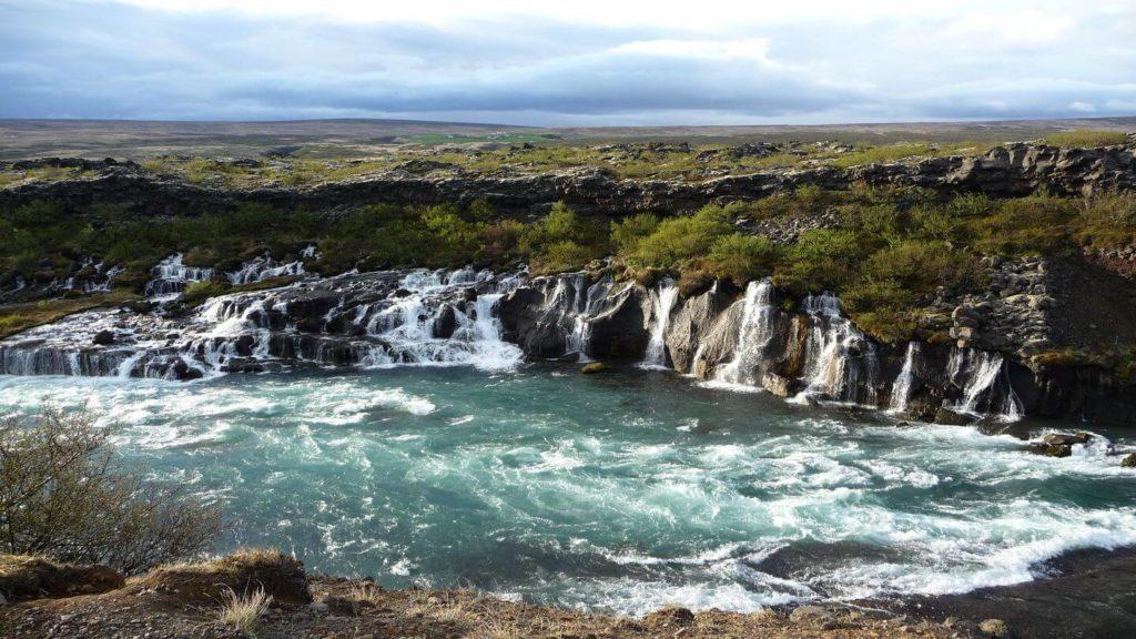 Hraunfossar barnafoss waterfalls Iceland
