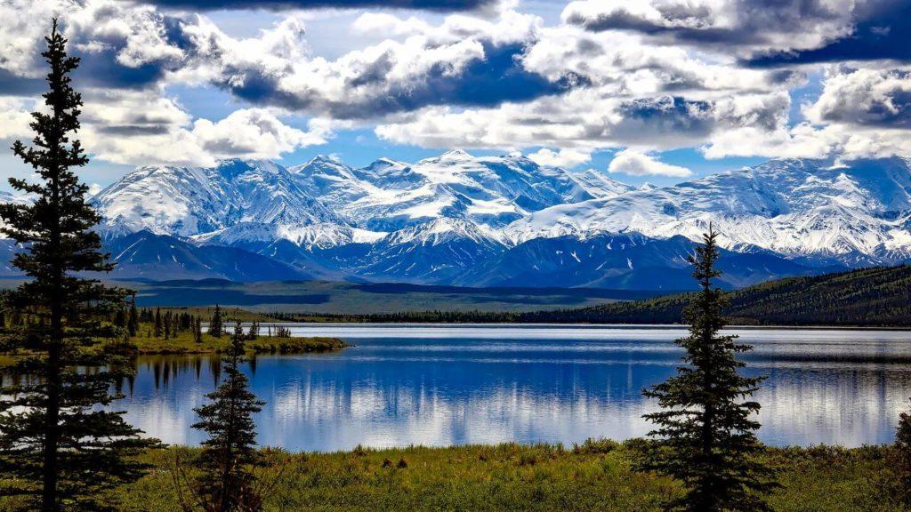 lake mountains denali national park alaska united states