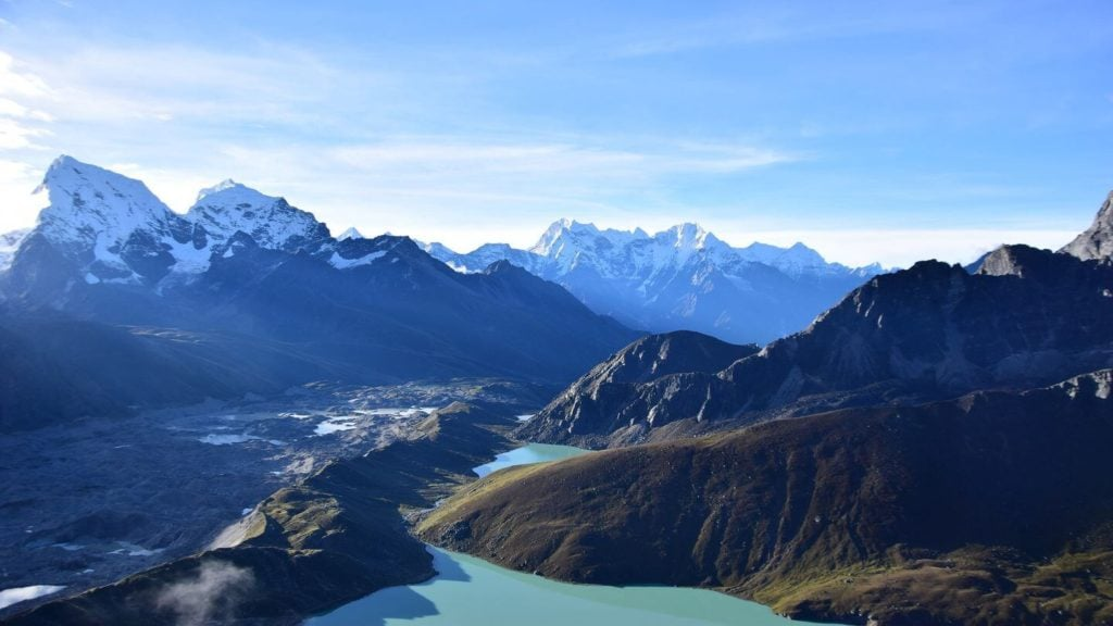blue imja river himalayas everest south base camp nepal