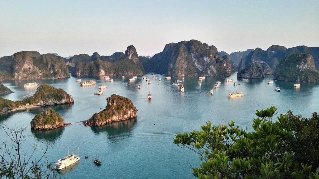 sailing boats limestone karsts halong bay vietnam