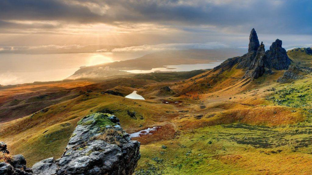 rocky mountains ocean Scottish Highlands