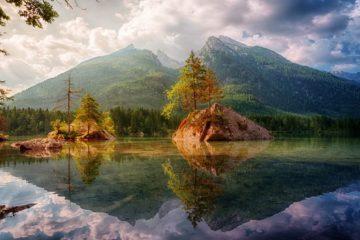 lake mountains reflection Germany