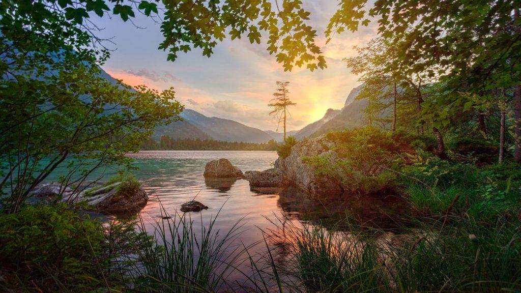 sunset over lake Germany