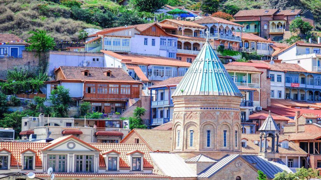 colourful Orthodox buildings Tbilisi Georgia