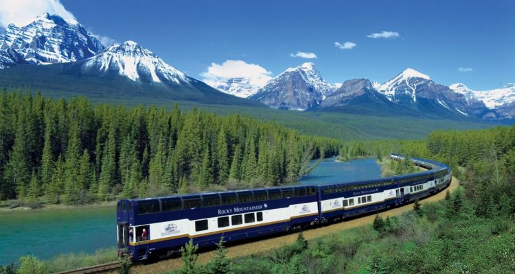 mountains forest river rocky mountaineer train