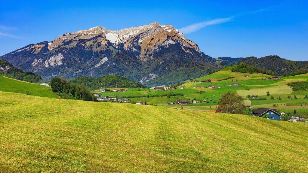 green fields mount stanserhorn lucerne switzerland