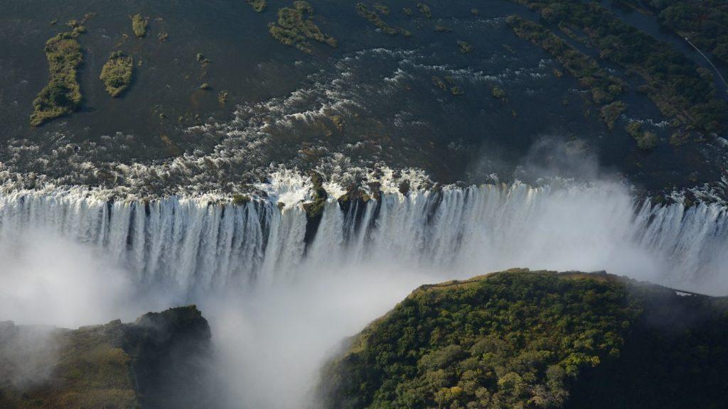 aerial view victoria falls zimbabwe zambia