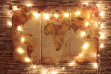 fairy lights world map