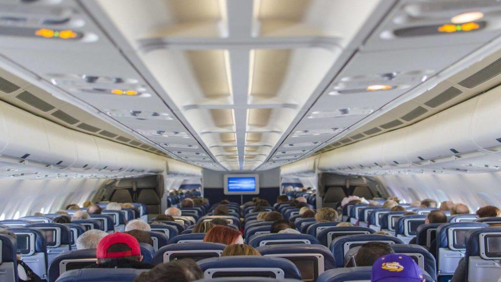 aeroplane cabin and passengers