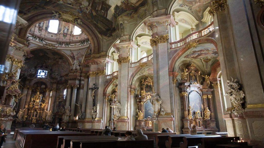 ornate interior st nicholas church Prague