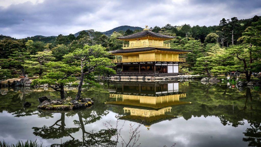 Japanese temple rainy day Japanese garden