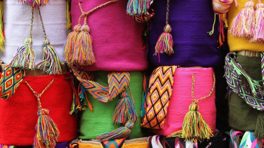 colourful rolls of fabric travel souvenirs