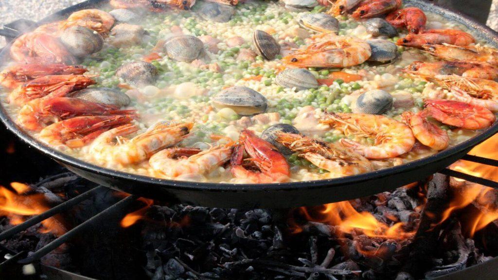 seafood paella dish spain