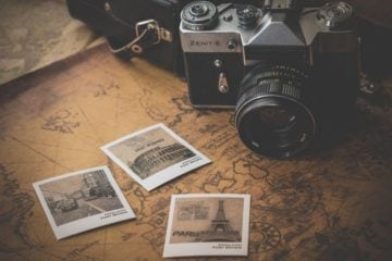 polaroid photos travel map camera