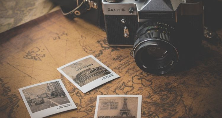 polaroid photos travel map camera
