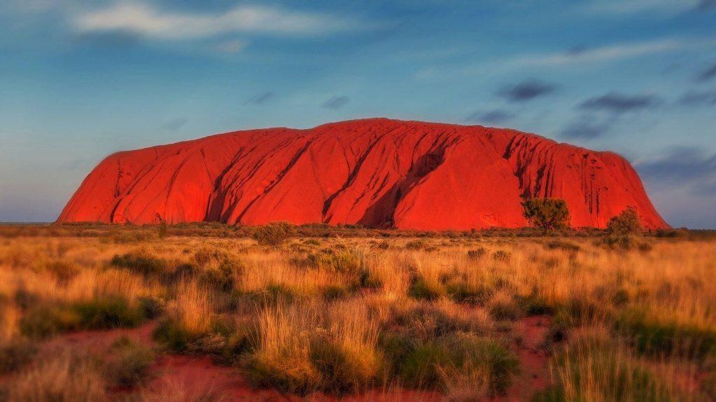 red sunset uluru australia