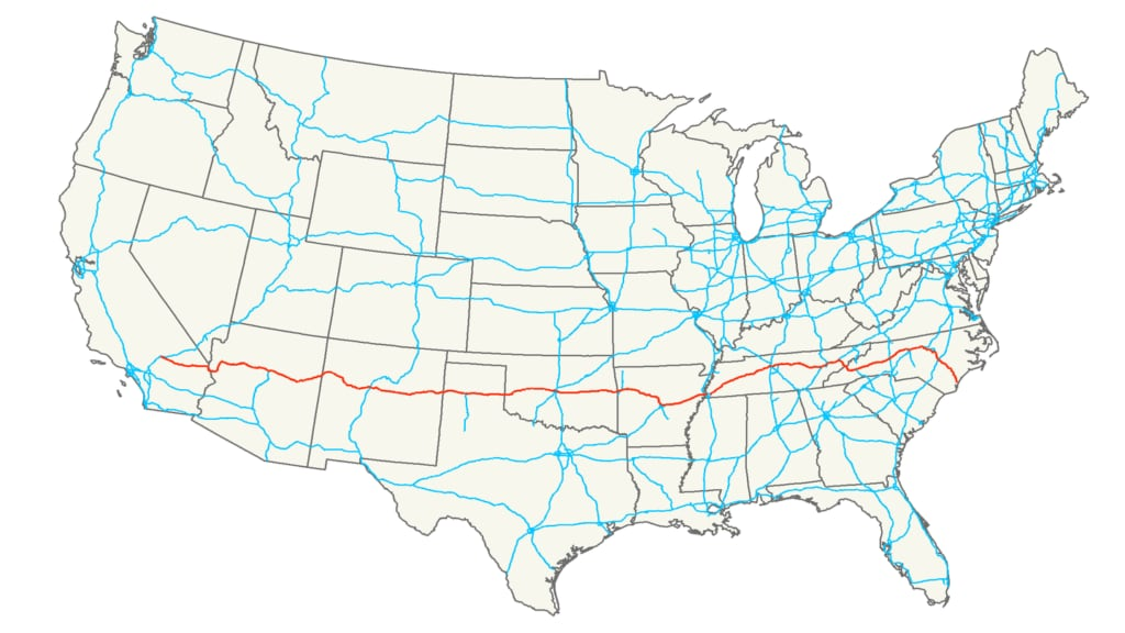 Interstate 40 route map USA