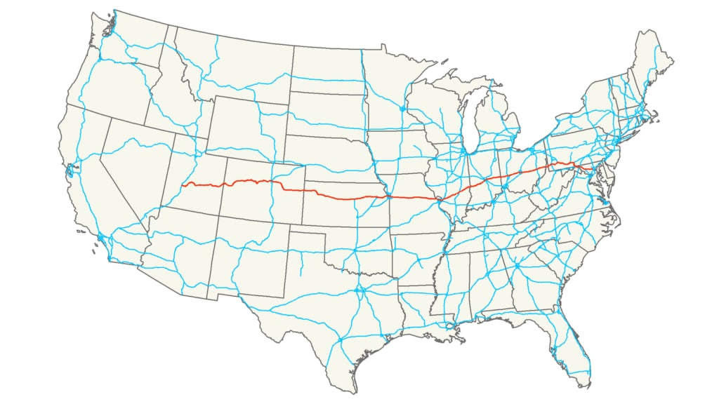 Interstate 70 route map USA