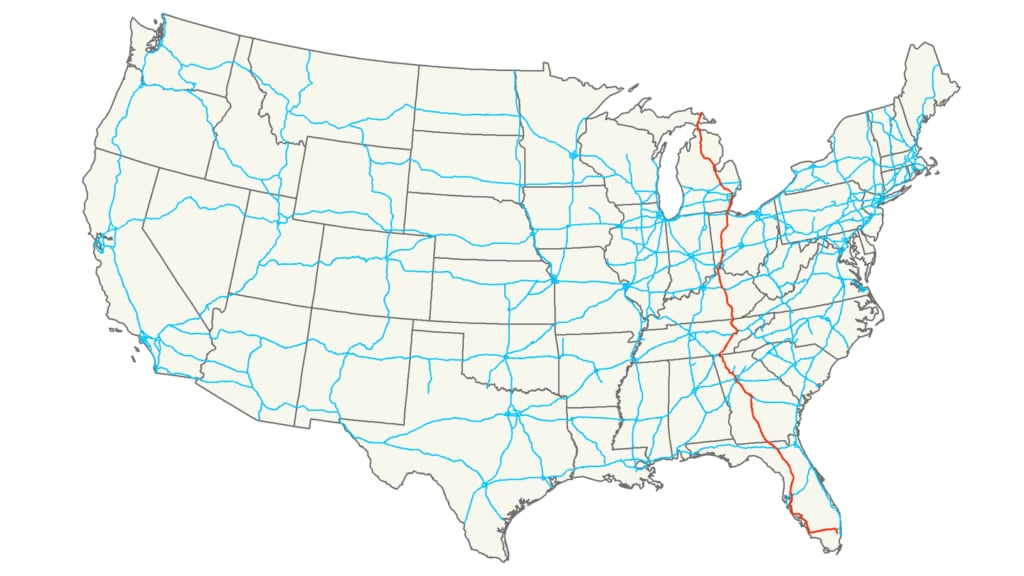 Interstate 75 route map USA