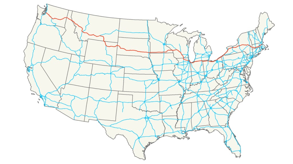 Interstate 90 route map USA