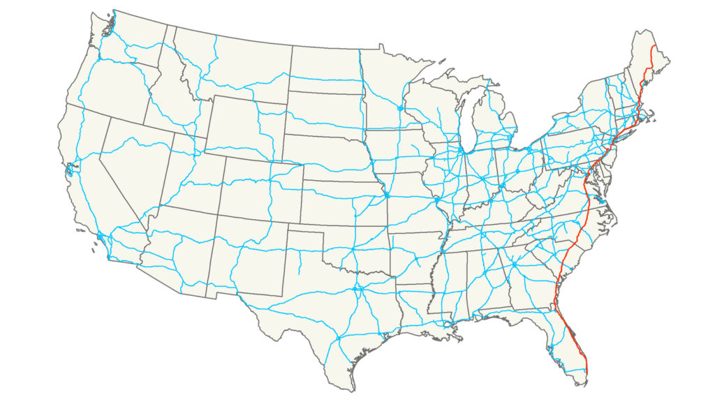 Interstate 95 route map USA