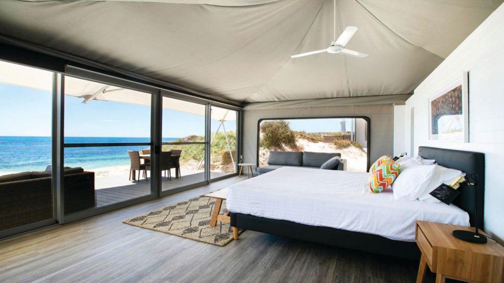 eco tent interior Discovery Rottnest Island eco beach club