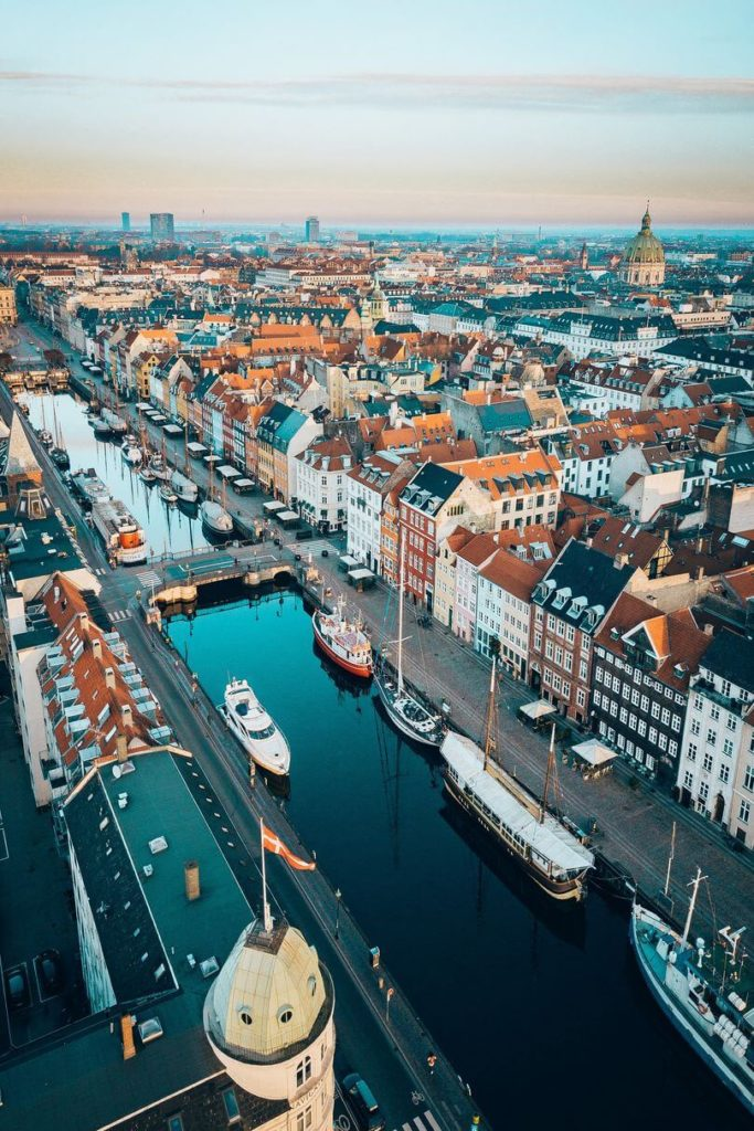 aerial view of canals boats houses Copenhagen city Denmark